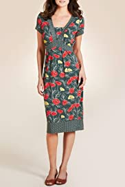 Per Una Wide Empire Line Rose & Leaf Print Dress [T62-6372I-S]