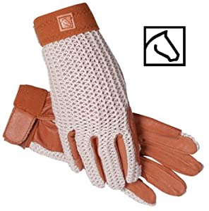 SSG Lycrochet Ultraflex Riding Gloves Ladies/7 Natural/Brown