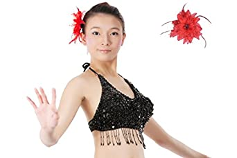Belly Dance Costume Beaded Halter Bandage Bra Top With Flower Shape Paillette Matching a Head Flower