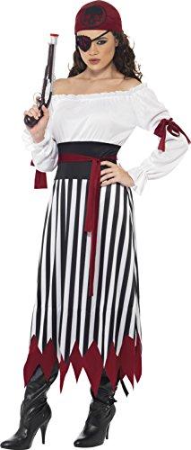 Piraten-Lady Kostüm Kleid mit Armbinden Gürtel und Kopftuch, Medium