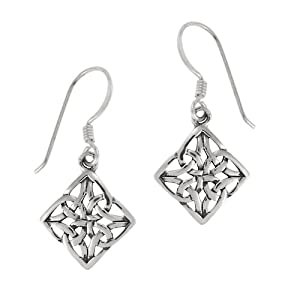 Sterling Silver Celtic Knot Diamond-Shaped Drop Earrings
