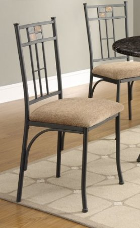 Dining chair with beige upholstered seat and metal frame for Dining chairs metal frame