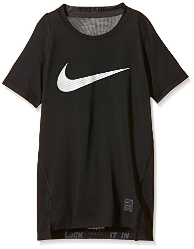 Nike Boys Hypercool Compression Short Sleeve T-Shirt Black/White 624314-010 Size Small