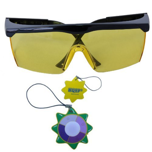 HQRP Radians Revelation Protective Yellow Tint Glasses plus HQRP UV Tester