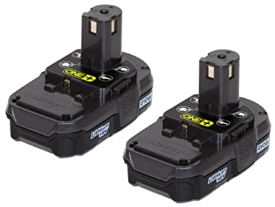 Ryobi (2 Pack) P102 One+ Lithium Ion 18 Volt Compact Batteries (Bulk Packaged) by Ryobi