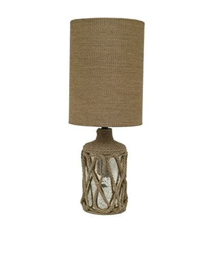 Three Hands Jute Glass Table Lamp