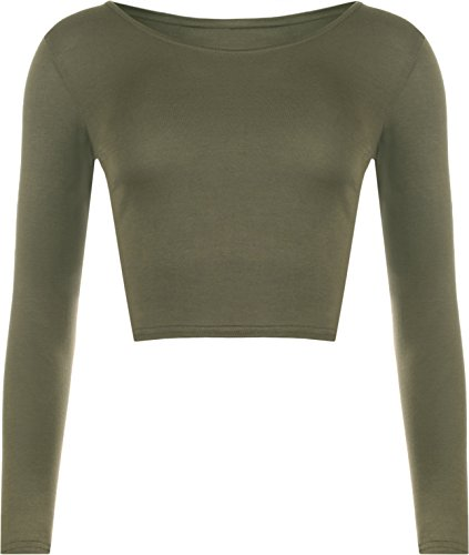 wearall-mujeres-manga-larga-llanura-recortar-la-camiseta-corta-cuello-redondo-top-khaki-36-38