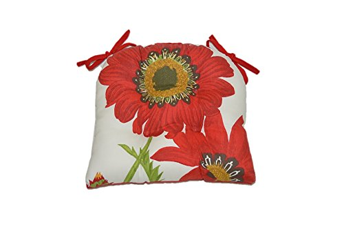Red Floral Poppy Red Kitchen Chair Cushion Pad