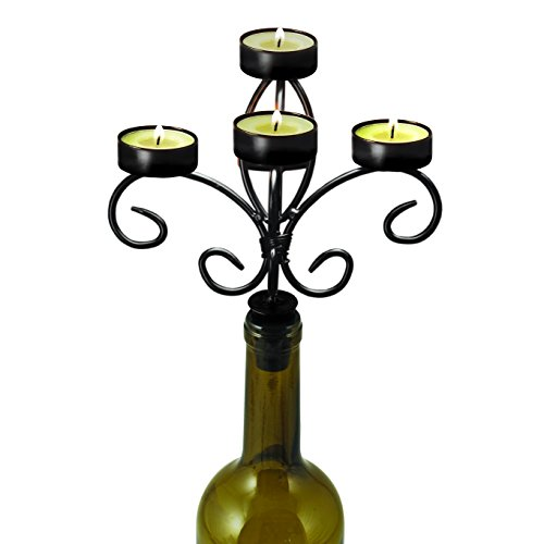 True Fabrications Twine Creative Gift 5 Tier Wrought Iron Candelabra For Wine Or Champagne Bottle - Includes 5 Tea Lights front-17508
