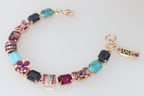 Stunning 24K Rose Gold Plated Bracelet from 'Indigo' Collection by Amaro Jewelry Studio, Crafted with Chrysocolla, Lapis Lazuli, Abalone, Turquoise, Amethyst and Swarovski Crystals