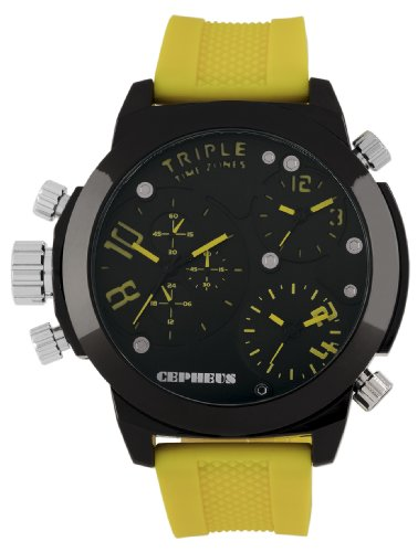 Cepheus Men's Quartz Watch with Black Dial Analogue Display and Yellow Silicone Strap CP902-620C