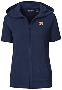 NCAA Auburn Tigers Ladies Short Sleeve Full Zip Polar Fleece Hoodie, Classic Navy, 1X by Oxford