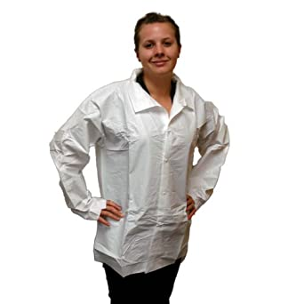 Enviroguard MicroGuard MP Long Sleeve Shirt with 5 Snaps, Disposable, White, 4X-Large (Case of 50)