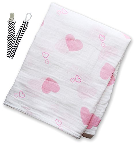 "Lulujo LJ029 Sweet Heart Muslin Cotton Swaddling Blanket 47""x47"" with Pacifier Clip - 1"