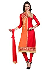 Women's Red & Orange Embroidered Cotton Semi Stitched Salwar Suit