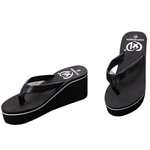 Fheaven Summer Sexy Flip Flops Women Sandals Bohemian Muffin Slope With Sandals (US:5(Size:36), Black)