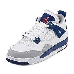 Nike Jordan Kids Air Jordan 4 Retro Gg White/Hypr Orng/Dp Ryl Bl/Wlf Basketball Shoe 6.5 Kids US