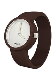O Clock Unisex-Armbanduhr Analog Silikon weiss braun OCW04-S