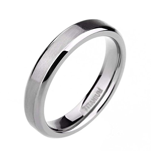 TIGRADE Unisex 4MM Titanium Brushed Finish Beveled Edge Classy Rings Wedding Band Size 4 - 15(9)