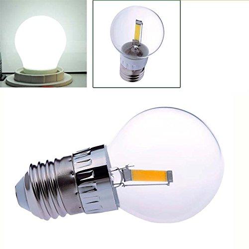 Keyzone E27 1.6W Cob Led Filament Transparent Bulb Globe Light Lamp Pure White 6500K