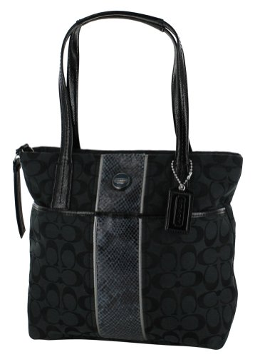 Coach F25706 Signature Print Women's Tote Handbag Black