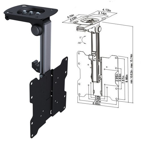 """Cmple - Ceiling Cabinet Mount For 17-37"""" Led ,Lcd, Plasma Tvs With Swiveling And Folding Mechanism - Black"""