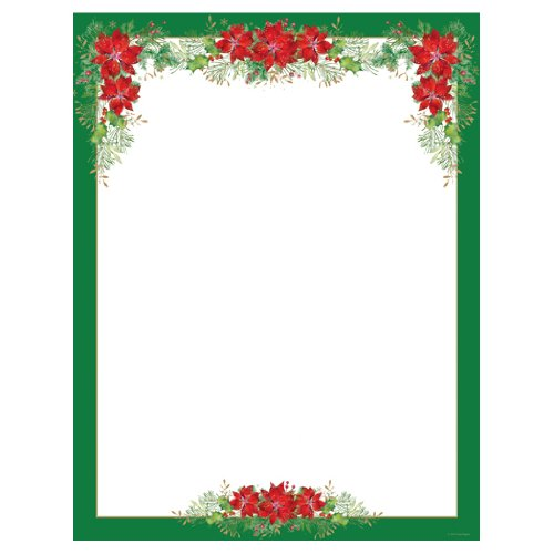 Poinsettia Valance And Green Border Christmas Holiday