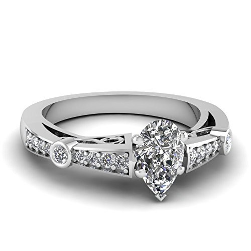 Fascinating Diamonds 1.20 Ct Pear Shaped Diamond Vintage Style Engagement Ring Pave Set 14K Si2-F Gia