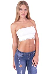 Hollywood Star Fashion Women's Lining Tube Crop Stretch Layer Lace Bandeau Top