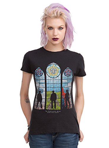 SUPERNATURAL STAINED GLASS GIRLS T-SHIRT (S) (Misha Collins Merchandise compare prices)