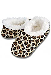 Snoozies Leopard Zebra Print Fleece Lined Womens Footies, Natural, Large