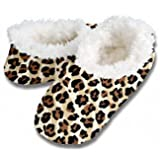 Snoozies Leopard Zebra Print Fleece Lined Womens Footies, Natural, Small