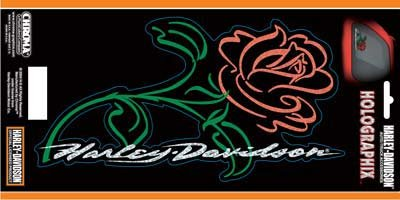 Harley-Davidson Script with Rose 6x12 Decal Holographic