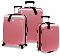 Hot Sale Travelers Choice Freedom 3 Piece Lightweight Hard-Shell Spinning Rolling Luggage Set, Dusty Rose, Large