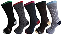 RC. ROYAL CLASS SOFT COTTON RIBBED SOCKS FOR MEN (PACK OF 5)