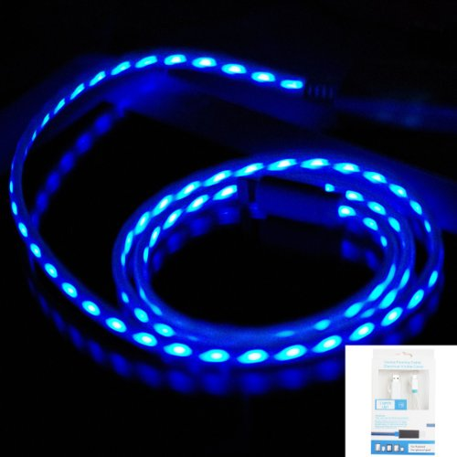 Imz® White Blue Visible Flowing Led El Light 8 Pin Usb Sync Data Charging Charger Cable For Apple Iphone 6 / 6 Plus 5S 5C 5G 5, Ipad Air 2 Mini 3 Retina 2, Ipod Nano 7Th Gen, Ipod Touch 5Th Gen (White / Blue)