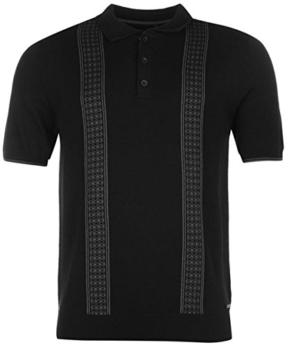 mens-short-sleeves-jacquard-knitted-polo-shirt-large-black-silver