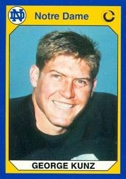 george kunz football card notre dame 1990