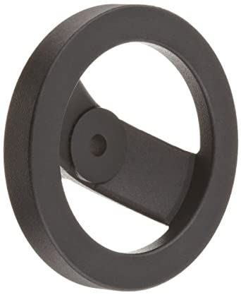 "2 Spoked Black Powder Coated Aluminum Dished Hand Wheel without Handle, 5"" Diameter, 3/8"" Hole Diameter (Pack of 1)"