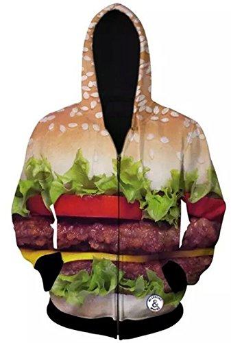 Unko Men's Junior 3D Appetitive Hamburger Zipper Hoodie Blazer XL As picture