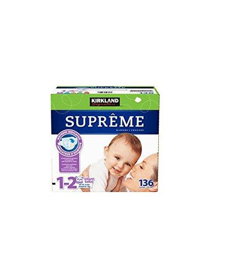Kirkland Signature Supreme Diapers Size 1-2; Quantity 136