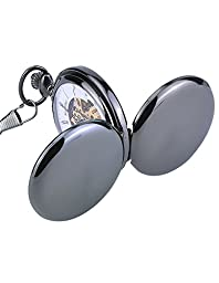 Mudder Classic Black Steel Smooth Double Hunter Case Mechanical Pocket Watch