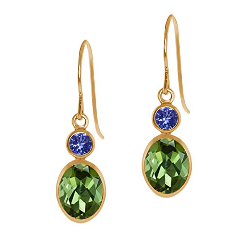 1.94 Ct Oval Green Tourmaline Blue Tanzanite 14K Yellow Gold Earrings