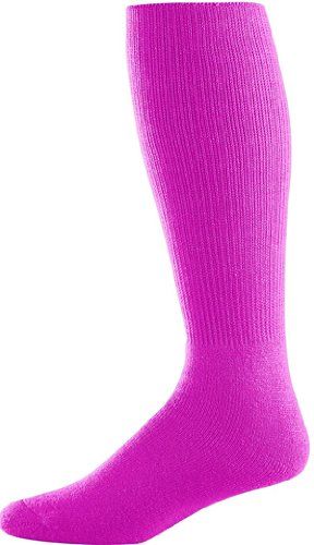 Augusta Sportswear 6027 Youth Athletic Socks - Power Pink - 7-9 front-835674