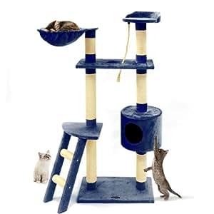 Happypet® CAT016 Arbre à chat Griffoir Grattoir 152cm Bleu