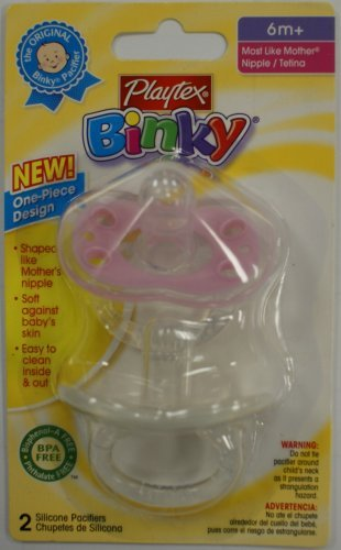 New Playtex Binky 1-Piece Design Silicone Pacifier Bpa Free 6+ Months Girl Colors (2 In Package) front-969223