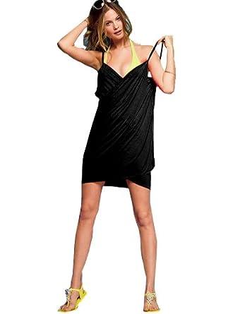 WOG Popular Sexy Deep V-neck Swimwear Beach Cover up Wrap Dress 12 Color - black
