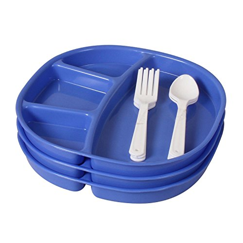 Ruchi Four Partition Square Plates With Fork and Spoon, 9 Pieces, Blue