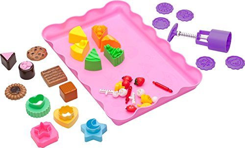 Sand Molds Kit (37 pcs) - Cake and Cookie Themed Set with Play Tray - Compatible with Kinetic Sand, Sands Alive, Brookstone, Waba, Moon Sand and Other Molding Play Sand Brands - (Sand NOT included) (Play Dough Shape Makers compare prices)