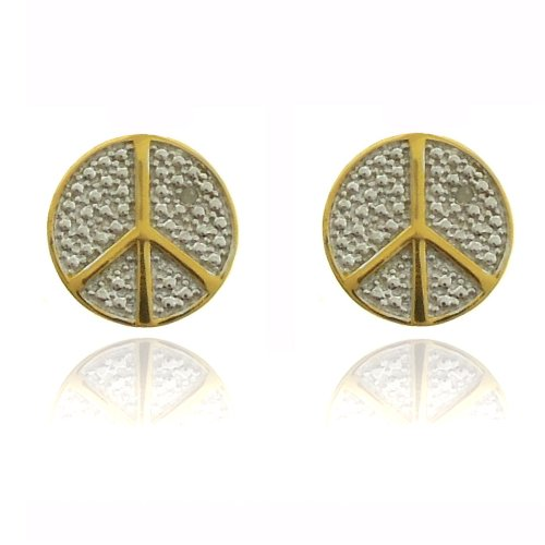18k Gold Overlay Diamond Accent Peace Symbol Stud Earrings